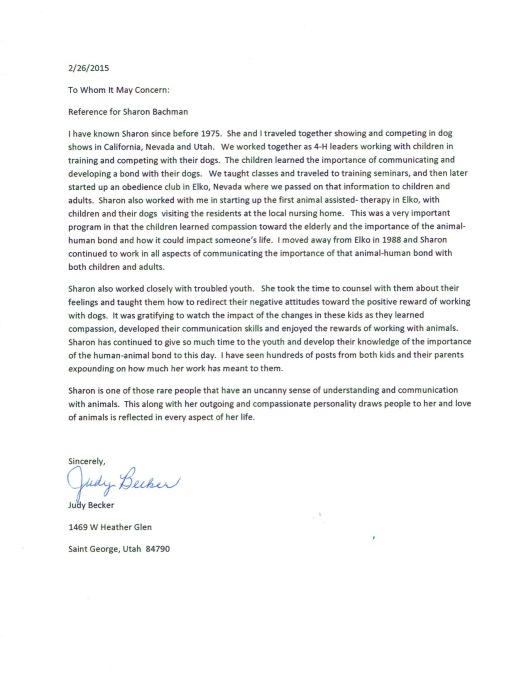 Letter from Judy Becker